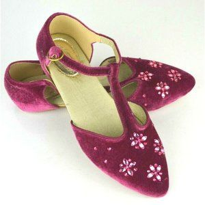Joyfolie Girls T Strap Pointed Pink Velvet Shoes